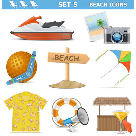 Vector Beach Icons Set 5 isolated on white background Vector