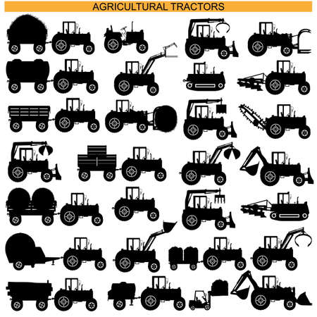 Agricultural Tractor Pictograms isolated on white background Vectores