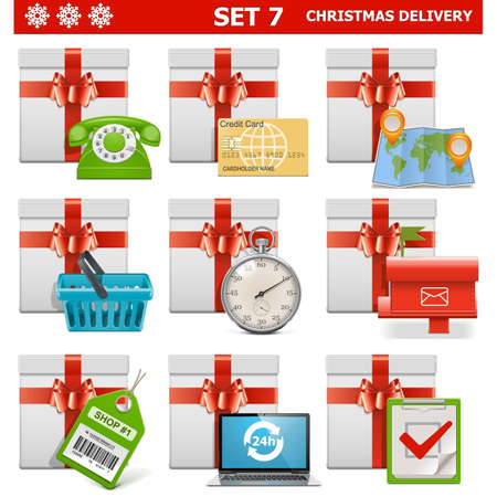 Christmas Delivery Set 7 isolated on white background Vector