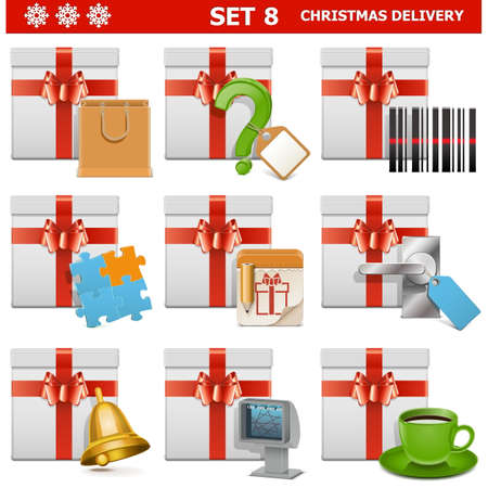 doorhandle: Christmas Delivery Set 8 isolated on white background