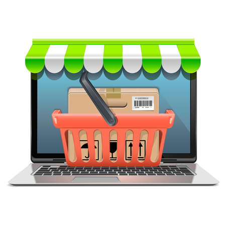 open notebook: Computer Shopping Concept isolated on white background Illustration