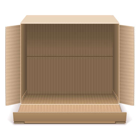 packing boxes: Open Carton Box isolated on white background