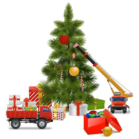crane truck: Christmas Workshop isolated on white background