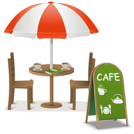 Outdoor Cafe isolated on white background