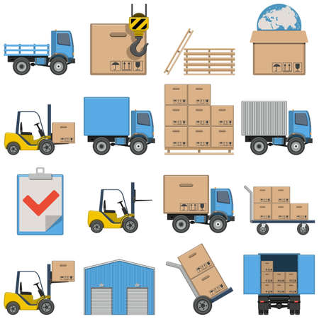 Flat Icons - Shipping isolated on white background Vector