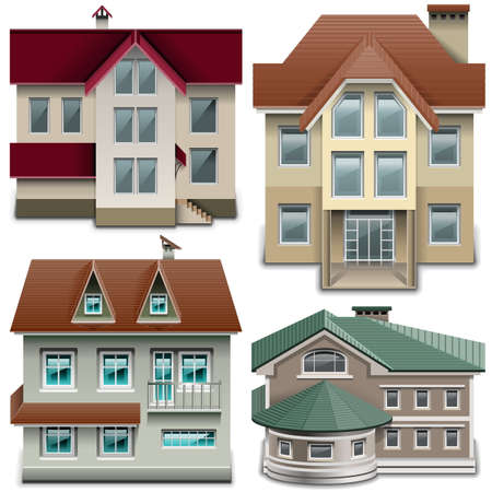 two storey house: House Icons isolated on white background