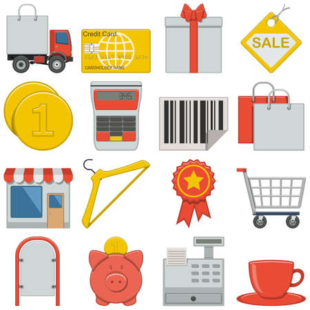 Flat Icons - Retail isolated on white background Vector
