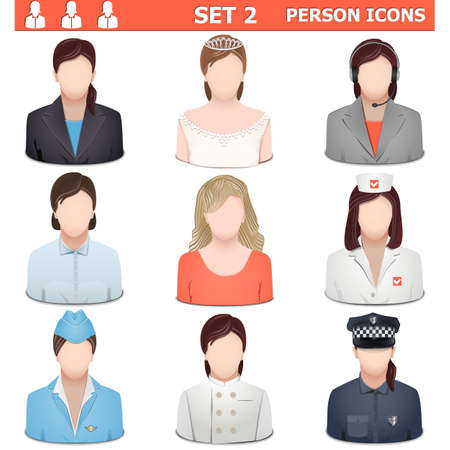 Person Icons Set 2 isolated on white background Vector