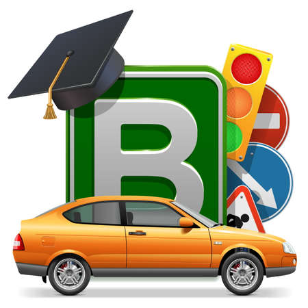 Driving School Concept with Car isolated on white background Illustration
