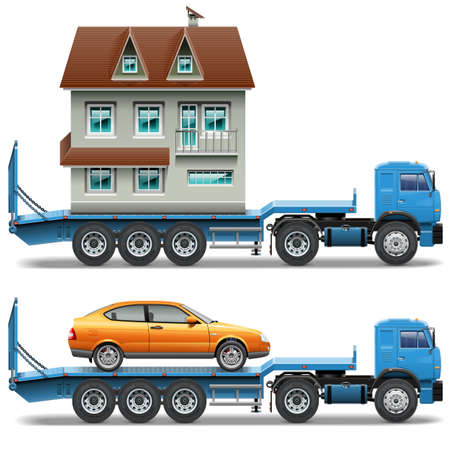 two storey: Trailer with House and Car isolated on white background Illustration