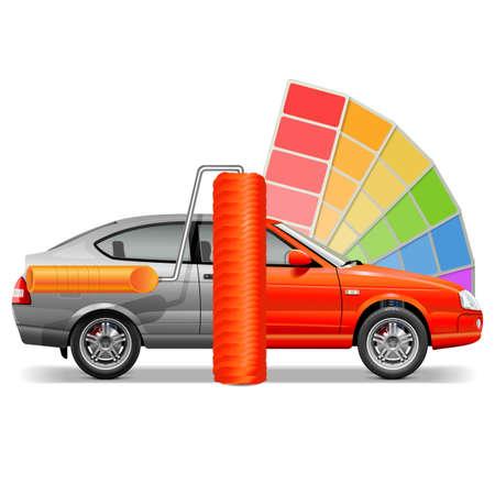 paint background: Vector del coche con el cepillo de pintura aislado en el fondo blanco