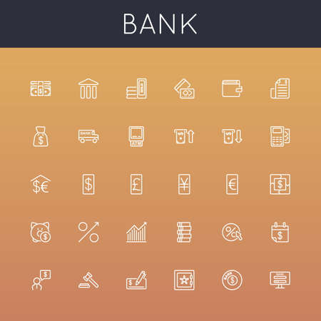 bank bill: Bank Line Icons isolated on background