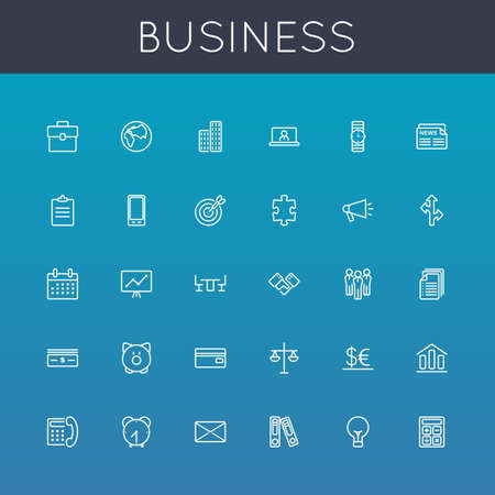 Vector Business Line Icons isolated on background