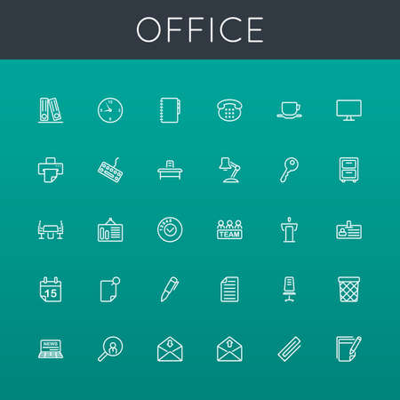 Vector Office Line Icons isolated on background Illustration