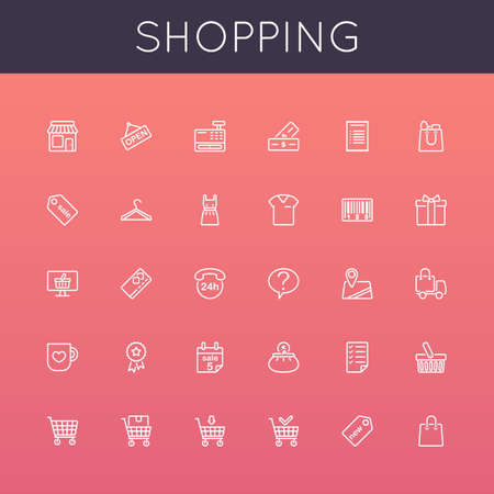 retail: Vector Shopping Line Icons isolated on background Illustration