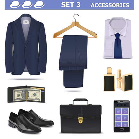 suit  cuff: Vector Male Accessories Set 3 isolated on white background
