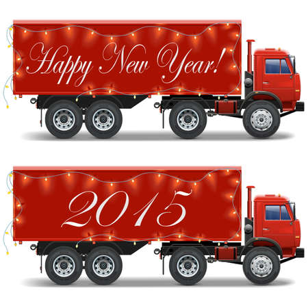 cargo container: Vector Christmas Truck isolated on white background