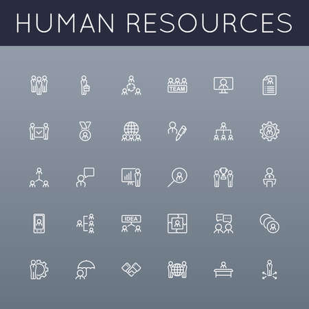 recursos humanos: Vector HR Línea iconos agrupados para facilitar la edición