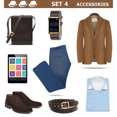 suede belt: Vector Male Accessories Set 4 isolated on white background