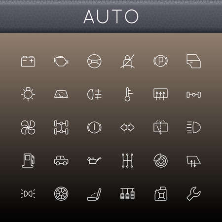 Auto Line Icons isolated on brown background