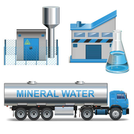 cistern: Mineral Waters Production isolated on white background Illustration