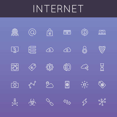 telephone line: Vector Internet Line Icons grouped for easy editing.