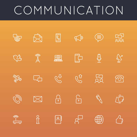 Vector Communication Line Icons grouped for easy editing.