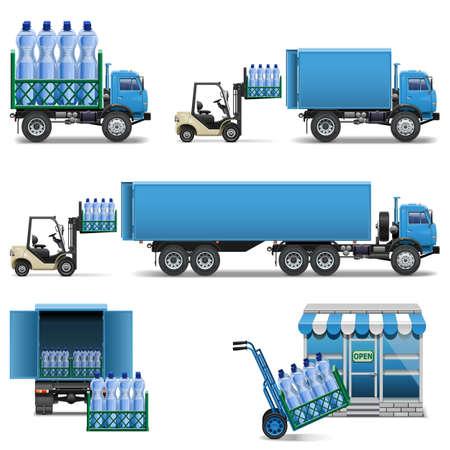 Vector Mineral Water Shipping aislado en fondo blanco