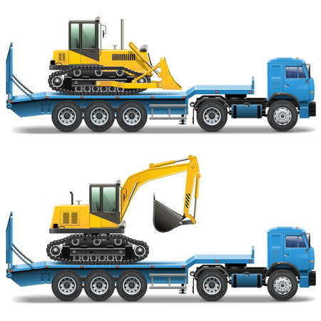 semitrailer: Vector Trailer with Tractor isolated on white background