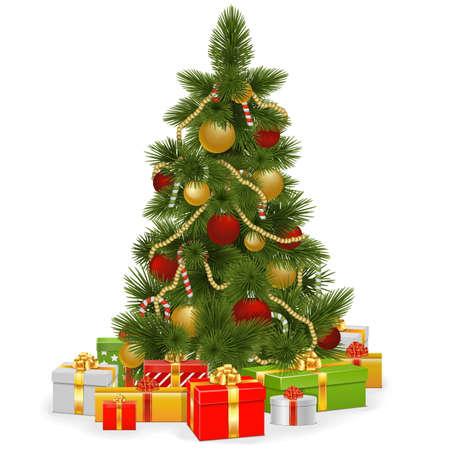 白い背景で隔離のギフトとベクトル クリスマス ツリー