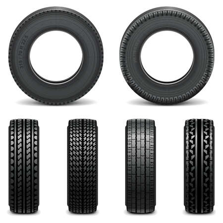 Vector Tyre Icons isolated on white background  イラスト・ベクター素材