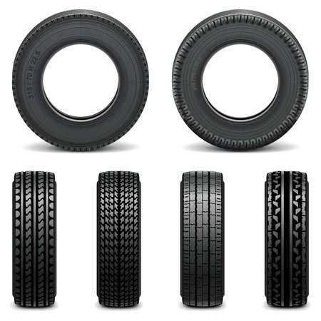 motricit�: Vector pneus Ic�nes isol� sur fond blanc