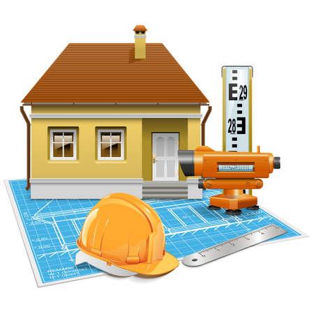 mensuration: Projet immobilier isol� sur fond blanc Illustration