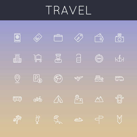 train icon: Travel Line Icons isolated on colors background