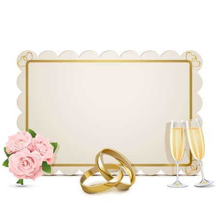 betrothal: Wedding Frame isolated on white background