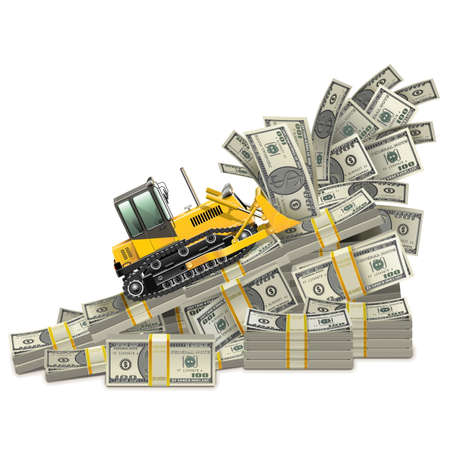 pile of cash: Vector Earnings Growth Concept isolated on white background Illustration