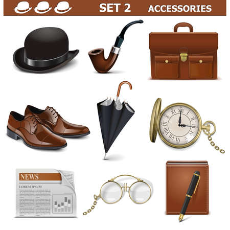 Vector Male Accessories Set 2 isolated on white background  イラスト・ベクター素材