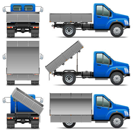 camion volteo: Vector Lorry Icons Set 4 aislado en fondo blanco Vectores
