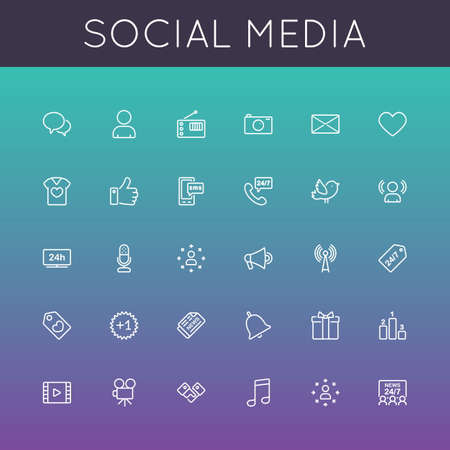 Vector Social Media Line Icons isolated on color background