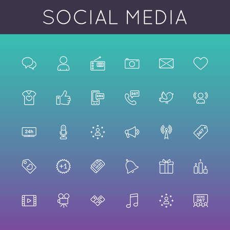 Vector Social Media lijn iconen geïsoleerd op een achtergrond kleur