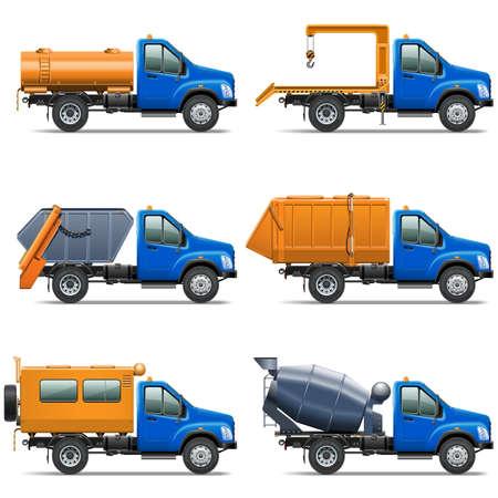 camion grua: Vector Lorry Icons Set 5 aislado en fondo blanco