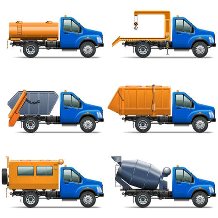 Vector Lorry Icons Set 5 isolated on white background Illustration