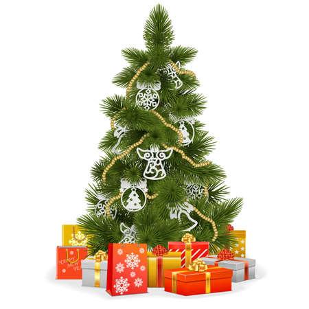 白い背景で隔離紙の装飾とクリスマス ツリー