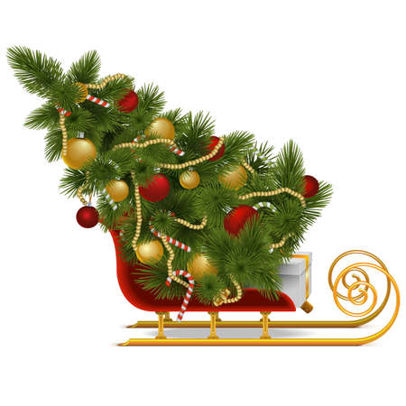 Vector Sled with Christmas Tree isolated on white background Illustration
