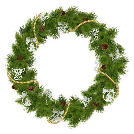 christmas wreath: Vector Christmas Wreath with Decorations isolated on white background