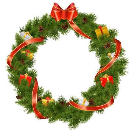 白い背景で隔離のギフトとベクトル クリスマス リース
