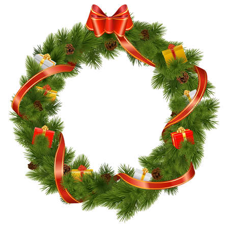Vector Christmas Wreath with Gifts isolated on white background