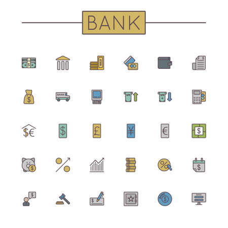 money in the bank: Vector Colored Bank Line Icons isolated on white background