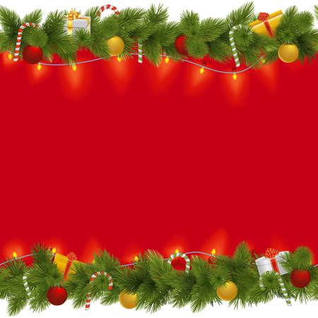 ガーランドは、白い背景で隔離のベクトル クリスマス背景