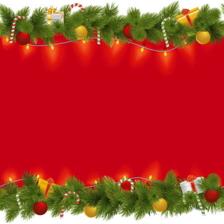christmas parties: Vector Christmas Background with Garland isolated on white background